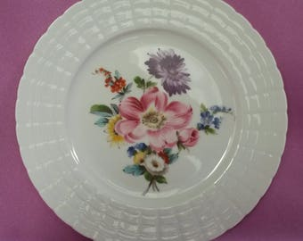 "Hutschenreuther Germany Salad Plate 8"" Diana Pink, Purple and Blue Flowers"