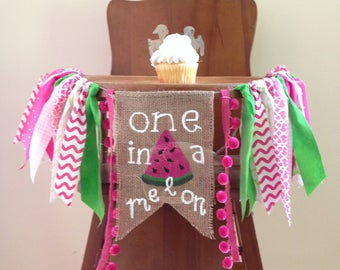 Pink Watermelon First Birthday High Chair Banner/One in a Melon/Sweet to be One/Cake Smash/Photo Shoot Prop/Party Decor/Summer Theme/Girl