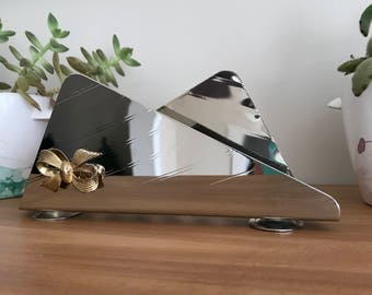 Retro Napkin or Mail Holder - Silver with Gold Bow