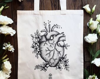 """Tote bag in organic cotton """"Arrived My Heart"""" bag anatomical heart, tattoo, bag of course, door documents"""