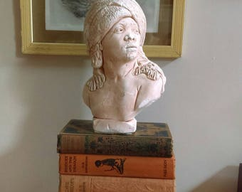 Vintage plaster bust of African man with turban ethnic decorator's piece