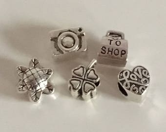 5pc set of 5 charms Pandora style suitable for bracelet of all brands such as Pandora, Trollbeads, Tedora, Heartbeads, Biagi Silverado Ed