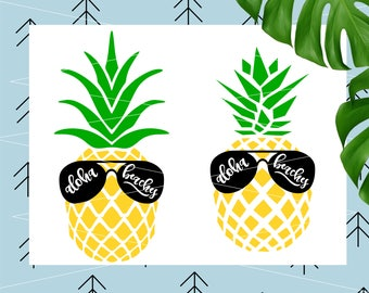 Aloha Beaches svg Pineapple Svg Aloha Beaches Pineapple svg files for Cricut Silhouette Sunglasses svg tropical summer svg dxf eps png lfvs