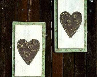 Tin Heart Plaque with antiqued stencil