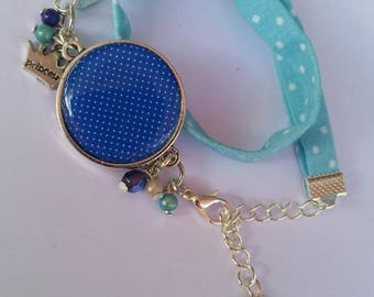 Bracelet blue sky with white polka dots, 60s style, to wrap twice around the wrist