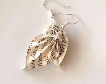 Recycled Paper- Origami Leaf Earrings- Origami Jewelry-Origami Earrings-Paper Leaf Jewelry-Book Paper