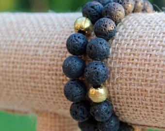 Black Lava Stone Beaded Elastic Bracelet, Diffuser Beads, Essential Oils