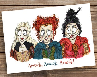Hocus Pocus inspired card, halloween, Bette Midler, Sanderson witches, Amuck, ideal for party or birthday, scary, Disney