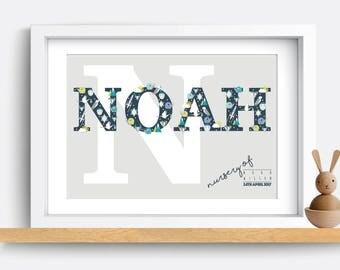 Personalised Children's Name Bedroom Print, baby nursery decor, modern kids art, baby name sign, baby nursery print, nursery wall art