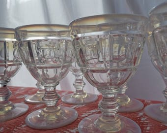 Set of Opalescent Goblets, Compotes and Plates