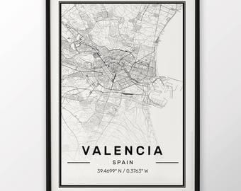 Valencia City Map Print Modern Contemporary poster in sizes 50x70 fit for Ikea frame 19.5 x 27.5 All city available London, New York Paris