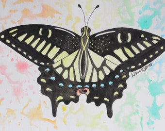 Original Anise Swallowtail Watercolor Painting