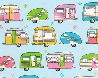 On The Road Metallic Camper Vans/Caravans Cotton Fabric - Robert Kaufman - by Fat Quarter (UK)