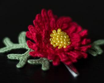 Red flower Chrysanthemum hair clip-unique girls hair decorasions-sale-Hair accessories-Handmade-crochet flower-gift ideas-Gifts for her.