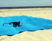 Beach towel 100% linen, rich blue picnic blanket, sauna towel, bath towel sheet, spa towel