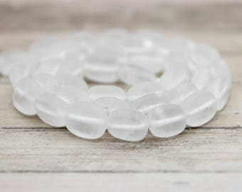 Frosted Matte Clear Quartz Flat Rectangle Beads