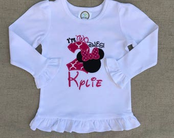 Minnie Mouse Birthday Shirt, I'm Twodles Birthday Shirt, Minnie Mouse Ruffle shirt