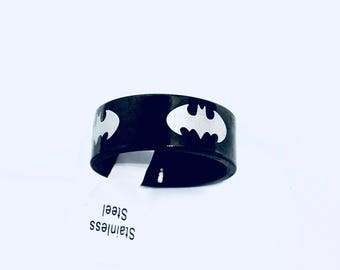 Polished Stainless Steel Batman Ring