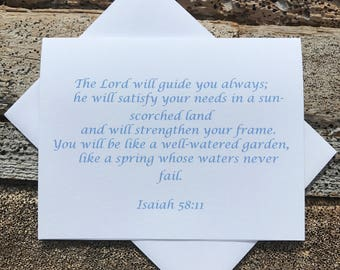 Isaiah 58:11 Bible Verse Note Card