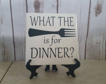 What the fork is for dinner? Ceramic tile, 6x6, Home decor, Decorative