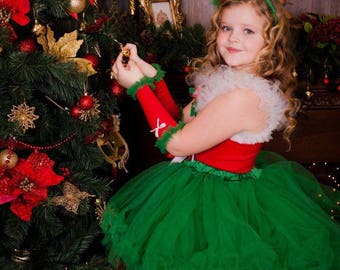 Santa Tutu Dress, Mrs. Claus Tutu skirt Dress, Girls Holiday Dress, Christmas Pageant Dress, Christmas Dress, Santa Dress, Mrs Claus Dress