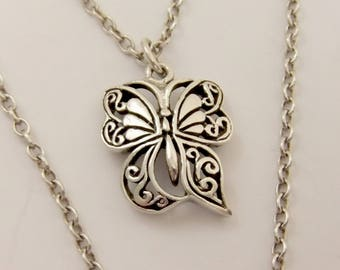 """Beautiful Sterling Silver Detailed Butterfly Pendant on 19"""" Silver Chain 8.0g #3164"""