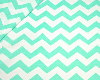 Mint chevron fabric by the Yard, Fat Quarter Light blue Fabric Medium Chevron Fabric 100% Cotton Fabric Quilting Fabric Apparel Fabric