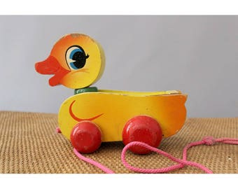 Vintage wood  Duck pull toy