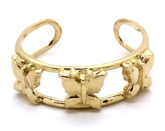 14K Yellow Gold Triple Butterfly Double Loop Toe Ring