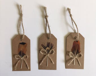 Rustic Pheasant Feather Gift Tags
