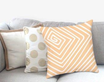 Peach Pillow Sham - Geometric Pillow - Modern Farmhouse - Striped Pillow Sham - Modern Home Decor - Decorative Pillow - Accent Pillow