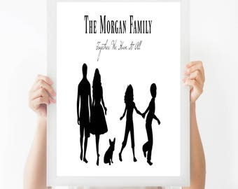 Family Print - Customised Family Print - Personalised Print - Housewarming Gift - Black and White Print - Home Decor - New Home