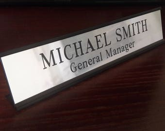 "Engraved Name Plate with Black Desk Holder 2"" x 10"", Custom Name Plate for Desk, Personalized Desk Plate, Office Desk Plate, Desk Sign"