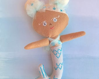 Baby Macaroon Mermaid Doll, Handmade felt doll with embroidery details based on pattern from Aimee Rae.  Looking for a loving forever home.