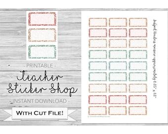 Glitter Subject Header Planner Stickers with Cut File - PRINTABLE - for Erin Condren, Happy Planner, Bullet Journal, Teacher Planner