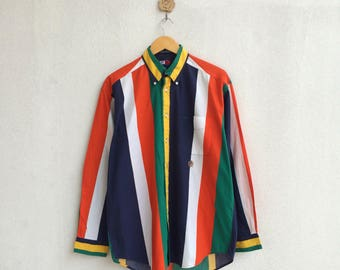 Vintage 90's Tommy Hilfiger Shirt Button Down Rainbow Color Embroidery Small Logo