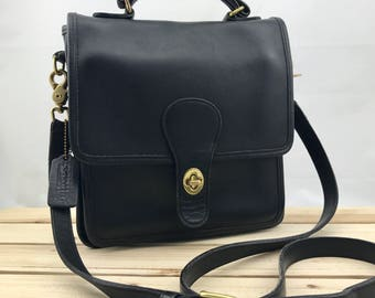 COACH Black Leather Classic Station Bag // Flap Bag // Messenger Bag Crossbody Made in USA