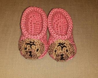 Handmade Baby Gift |  Crochet Baby Booties | Pug Dog Booties | Handmade | Baby Shower Gift | New Baby | Baby Boy | Baby Girl