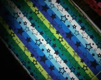 Rainbow star stripe jersey, blue rainbow striped stars cotton lycra knit, rainbow stripes, stars, jersey knit fabric, colourful jersey