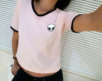 4 Colors Alien Crop Top Striped Alien Tumblr Crop Top Summer Crop Top Kawaii Crop top Harajuku Crop Top Aesthetic Crop Top Alien Shirt