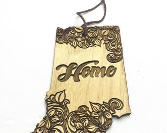 Indiana Ornament- Wood Ornament - Indiana Wood Ornament - State Ornament - Hoosier - Stocking Stuffer - Indiana Home - State Pride