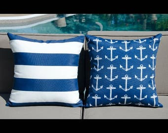 Nautical waterproof outdoor cushions