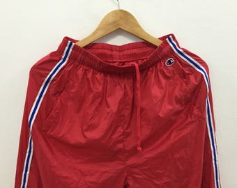RARE!!! Vintage 90's Champion Nylon Tracksuit Pants jogging athlete  Lacoste Kappa Hip Hop Adidas Nike Fred Perry