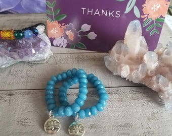 Child bracelets, protection silver lotus charm, on Aquamarine, beaded bracelet, natural semi precious stone healing crystals