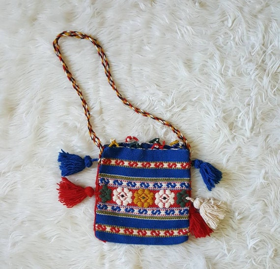 Vintage 70s woven wool purse pouch