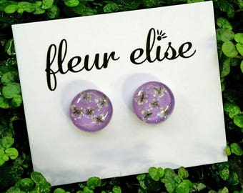 Real Flower Glass Studs - 12mm
