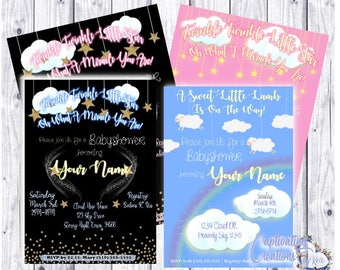 Twinkle Twinkle Little Star Baby Shower Invitation | Baby Lamb | DIGITAL FILE or PRINTED