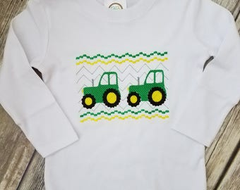 Faux Smocked Tractor Shirt