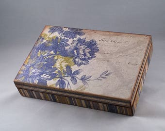 Altered Cigar Box, Jewelry Box, Keepsake Box, Treasure Box, Decor, Floral