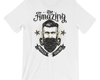 The Amazing Muscle Stache Short-Sleeve Unisex T-Shirt